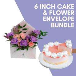 6 Inch Cake & Flower Bundle