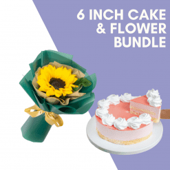 6 Inch Cake & Flower Bundle Cover Photo