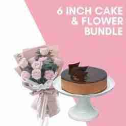 6 inch cake flower bundle