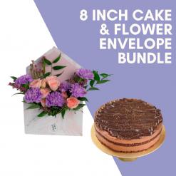 8 Inch Cake & Flower Bundle