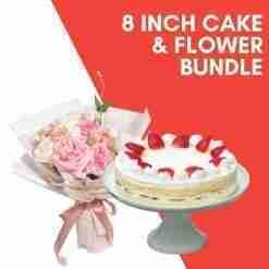 8 inch cake flower bundle