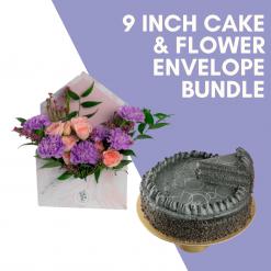 9 Inch Cake & Flower Bundle