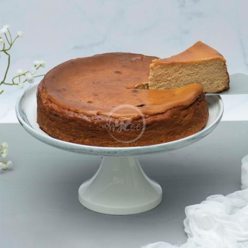 butterscotch basque cheesecake slice
