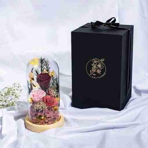 Everlasting Preserved Flower Dome Lit