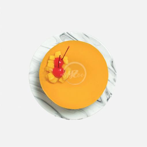 mango mousse cake top