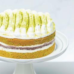 matcha redbean cake side