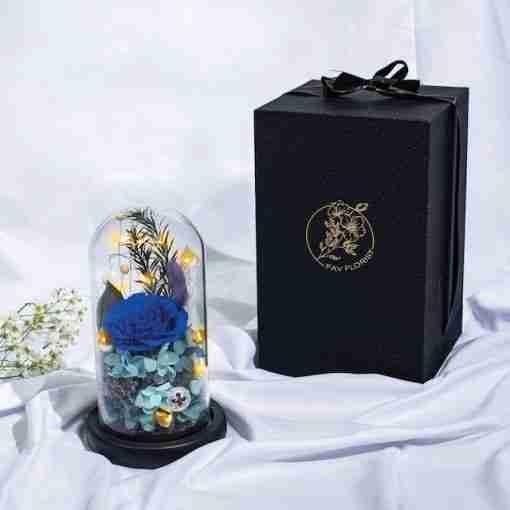 Mystic Blue Preserved Flower Dome Lit