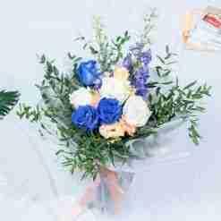 Blue Forest - Mixed Premium Blue Kenya Rose and Delphinium Bouquet