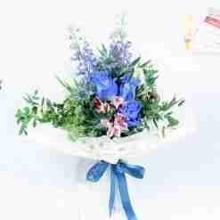 Blue Summer - Blue Kenya Rose and Delphinium Bouquet
