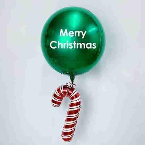 Green candy cane orb balloon