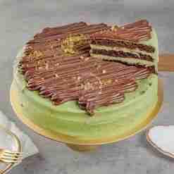 Chocolate Pistachio Cake Slice