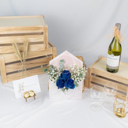 Blue Kenya Rose Marble Envelope Box
